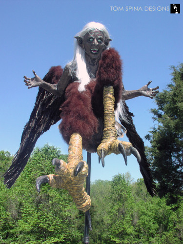 Harpy Statue - a flying witch lifesized wax museum figure