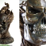Faux Bronze Skull Sculpture Bust