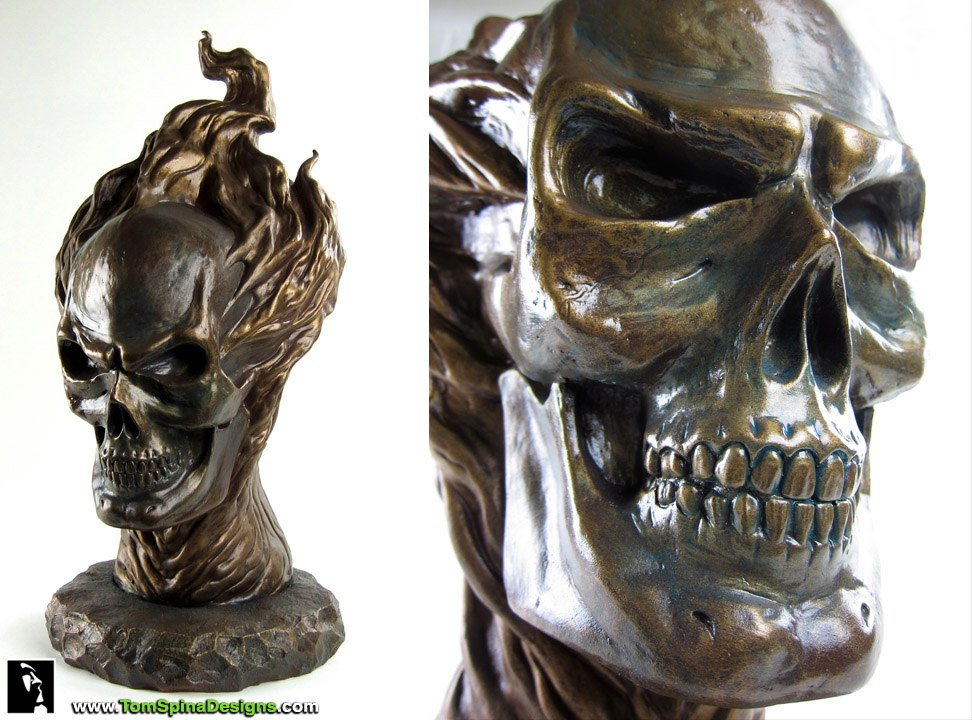 resin life-sized bust with realistic bronze finish