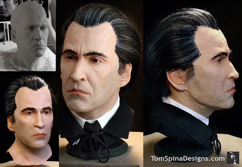 Christopher Lee sculpture in latex and foam like a wax figure bust