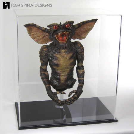 custom acrylic display cases or Chris Walas green gremlin puppet