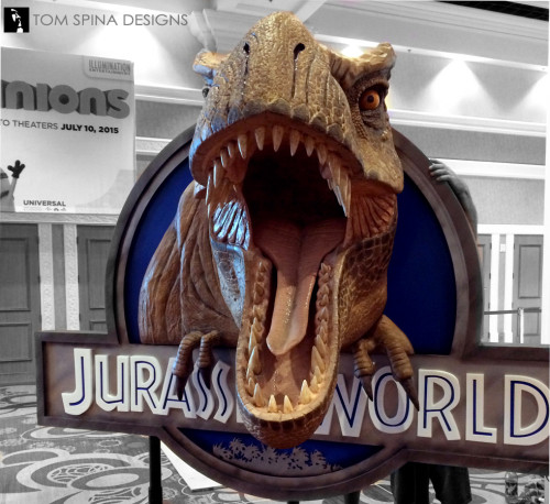 Jurassic World dinosaur foam tyrannosaurus rex photo op exhibit prop