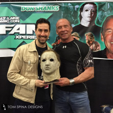Don Shanks with restored latex movie prop Myers mask