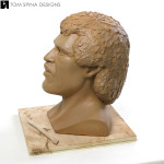 life-sized Lionel Richie clay head sculpture