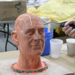 silicone molding of clay head sculpture