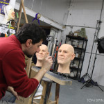 wax statue style mannequin head painting
