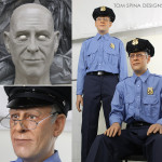 wax museum style figures of security guards
