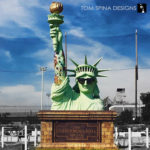 Statue of Liberty foam prop with tattoos
