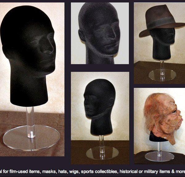 styrofoam male mannequin head in black with riser