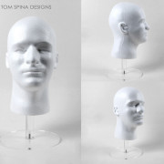 white foam male mannequin head with stand