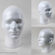 male lifesized mannequin head in styrofoam