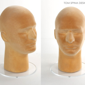 Men's skin tone flocked mannequin foam Flesh Tone display head