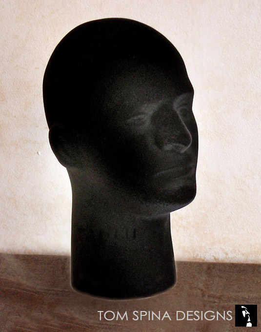 flocked styrofoam male display head in black velvet