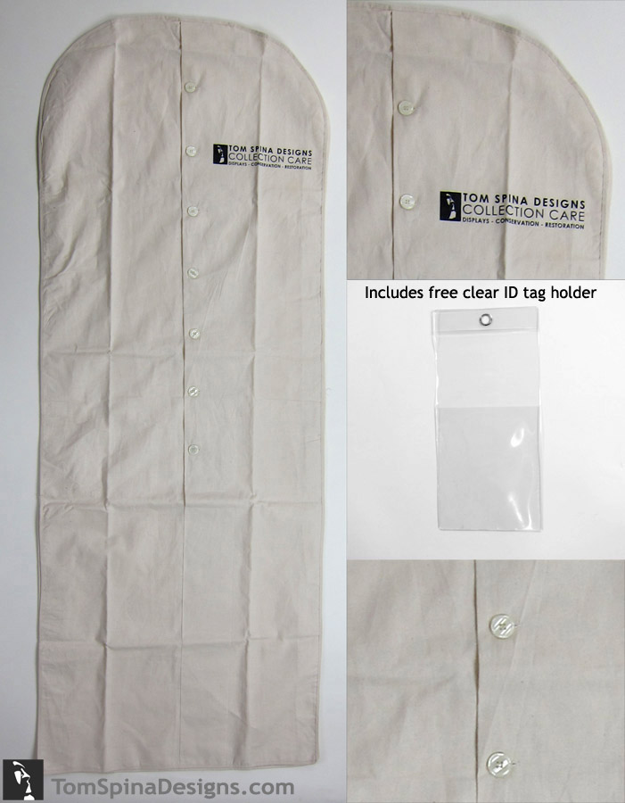 "62"" archival suit bag cotton muslin costume hanger bag"