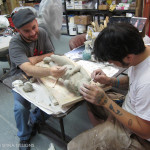 Rich Krusell and Patrick Louie sculpting comedian Jeff Ross