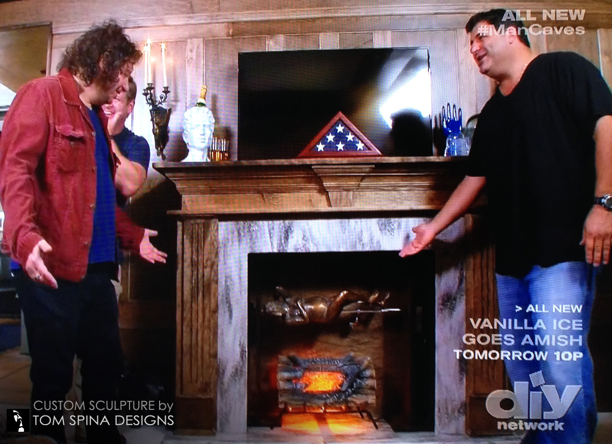 Man Cave With Fireplace : Faux bronze statue of jeffery ross for diy man caves tom spina