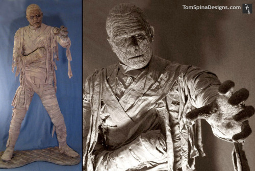Chaney style mummy mask and statue from Monsterpalooza