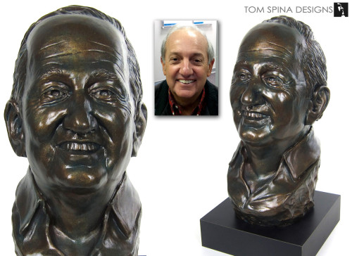 Life sized bronze bust sculpture from photos