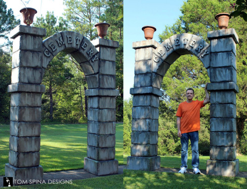 Carved Foam Cemetery Gates Arches for theme park event