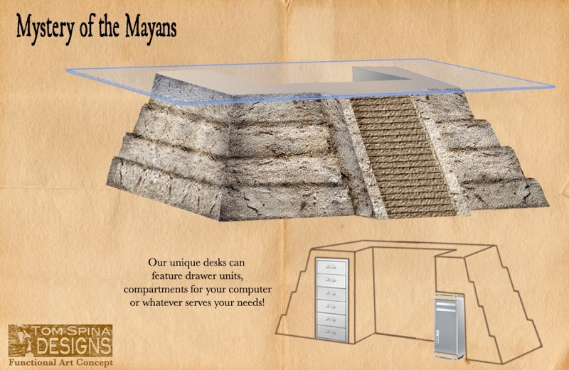 Mayan Temple desk Home Theater furniture theme prop