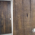 Movie themed faux wood themed door prop for home theater or office furniture