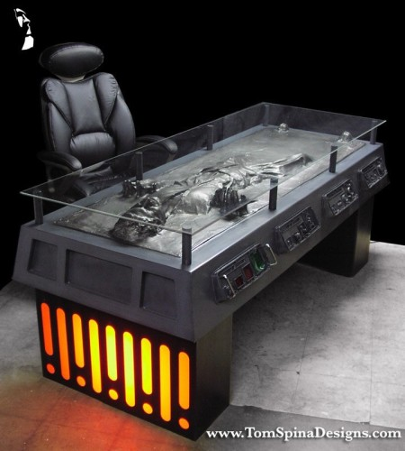 Han Solo in Carbonite desk - themed coffee table/furniture charity auction Mark Hall Casting Crowns