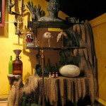 Themed Home Theater Design Man Cave faux Rock bookcase