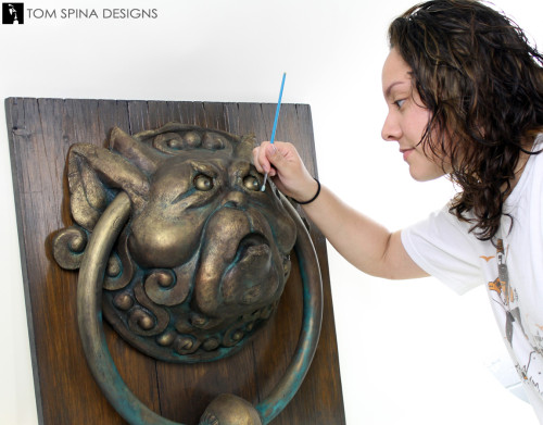 restoration of 1986 Labyrinth door knockers puppet from Jim Henson creature shop