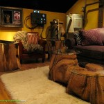 Themed Home Theater Design Man Cave faux stone coffee table