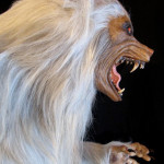 Lifesized white werewolf statue with claws