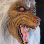 Lifesized white werewolf head eyes and teeth