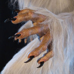 Lifesized white werewolf statue claws and monster hands