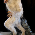 Lifesized white werewolf statue with themed base