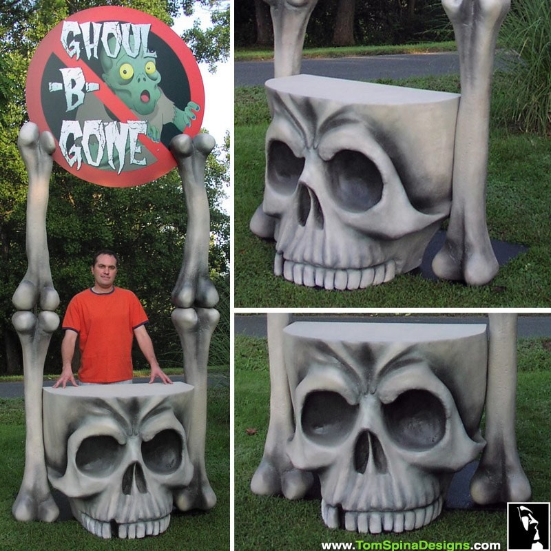 Skull table and Skull furniture carved foam theme prop and display for haunt at Six Flags