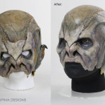 Star Trek Nemesis Reman movie prop mask on custom mannequin head