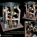 Steampunk table - pipe art movie themed furniture for home theater or office