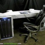 The Avengers movie themed office or home theater furniture back of desk