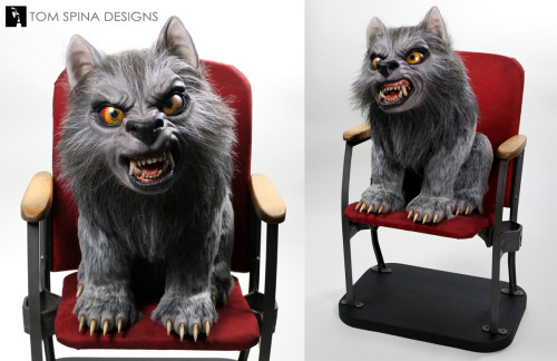 life size werewolf prop silicone statue with movie chair