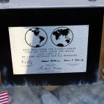 apollo 11 plaque on moon themed custom desk for home office or home theater