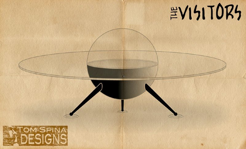 UFO Coffee Table 50's movie alien flying saucer custom home theater furniture table concept