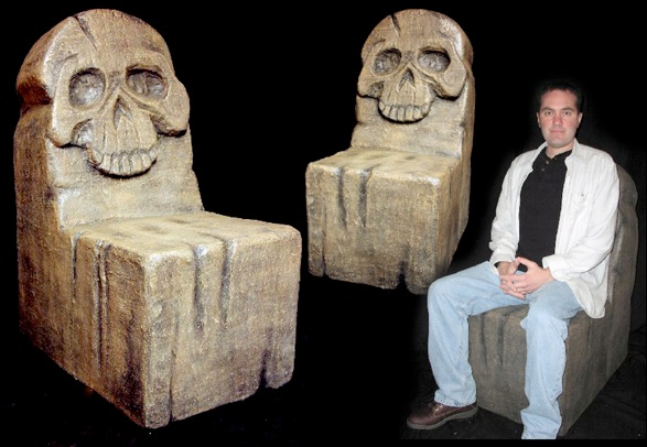 Skull throne or chair faux stone movie themed furniture for home theater or office