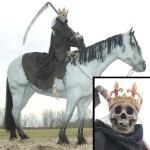 Pale Rider Life Size Horse Statue with Death
