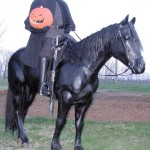 Life Sized Horse Statue with Headless Horseman