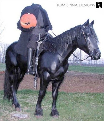 life sized horse statue with Headless Horseman for haunt or halloween display