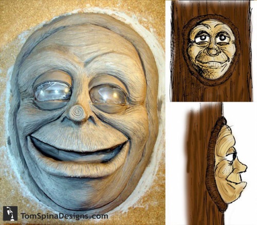 character design, latex tree puppet face