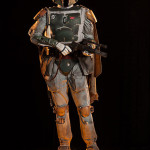 custom mannequin for Boba Fett's costume with cape and blasters