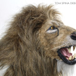 lion head sculpture taxidermy style
