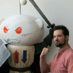 Foam carved character sculpture with Reddit company owner
