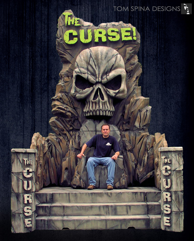 Carved foam trade show booth skull for mr olympia tom spina