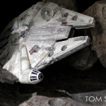 Millennium Falcon repainted Hasbro toy/model in asteroid field diorama
